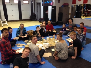 An after training traditional Thai feast for our Muay Thai adult class.