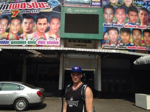 Chris in front of the famous (now demolished) Lumpinee Stadium