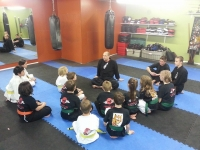 Kyoshi Mike and students in a learning circle.